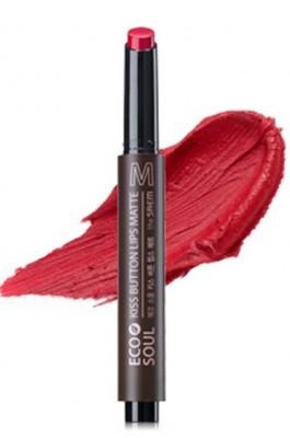 Помада для губ матовая THE SAEM Eco Soul Kiss Button Lips Matte 05 Red Warmer 2гр: фото