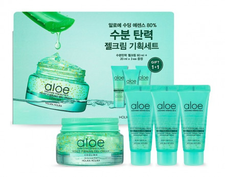 Крем-гель с алоэ + 3 миниатюры Holika Holika Aloe Soothing Essence 80% Moist Firming Gel Cream Set 120 мл: фото